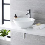 Lavabo Bagno da Appoggio Tondo in Ceramica 400x400mm con Rubinetto Miscelatore - Ashbury