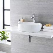 Lavabo Bagno da Appoggio in ceramica Ovale 480x350mm con Rubinetto Miscelatore - Otterton