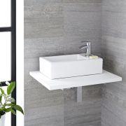 Lavabo Bagno Sospeso in Ceramica Rettangolare 450x250mm Con Mini Rubinetto Miscelatore - Sandford