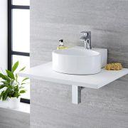 Lavabo Bagno da Appoggio SospesoTondo  in Ceramica 345x330mm con Rubinetto Miscelatore