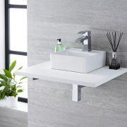 Lavabo Bagno da Appoggio Sospeso Quadrato in Ceramica 280x280mm con Rubinetto Miscelatore – Halwell