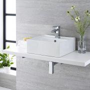 Lavabo Bagno da Appoggio Sospeso Quadrato in Ceramica 400x40mm con Rubinetto Miscelatore – Halwell