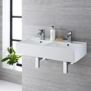 Lavabo Bagno Sospeso Rettangolare Doppio in Ceramica 820x420mm - Halwell
