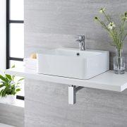 Lavabo Bagno da Appoggio Sospeso in Ceramica Rettangolare 460x420mm con Rubinetto Miscelatore - Exton