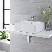 Lavabo Bagno da Appoggio Sospeso in Ceramica Rettangolare 520x420mm con Rubinetto Miscelatore - Exton