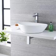 Lavabo Bagno da Appoggio in Ceramica Ovale 590x390mm con Rubinetto Miscelatore - Kenton