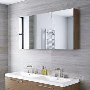 Mobile da Bagno Sospeso con Specchio 1350x150x700mm - Effetto Rovere