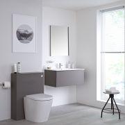 Mobile WC 800mm Colore Grigio Opaco per Stanza da Bagno Completo di Sanitario Sospeso, Cassetta e Lavabo Disponibile con Opzione LED - Newington