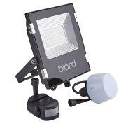Biard Faro Proiettore Piatto Nero 30W con Sensore PIR o Sensore Crepuscolare