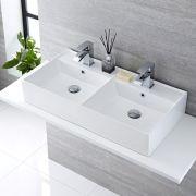 Lavabo Bagno da Appoggio Rettangolare in Ceramica 820x420mm con Rubinetto Miscelatore - Halwell