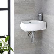 Lavabo Bagno da Appoggio Sospeso Ovale in Ceramica 430x280mm con Rubinetto Miscelatore - Ashbury