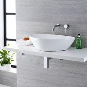 Lavabo Bagno da Appoggio in Ceramica Ovale 590x390mm con Rubinetto Miscelatore Murale - Kenton