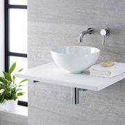 Lavabo Bagno da Appoggio Tondo in Ceramica 320x320mm con Rubinetto Miscelatore Murale - Ashbury