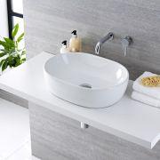 Lavabo Bagno da Appoggio in ceramica Ovale 480x350mm con Rubinetto Miscelatore Murale - Otterton