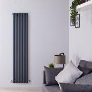 Radiatore di Design Verticale Doppio - Antracite - 1600mm x 354mm x 78mm - 1228 Watt - Revive