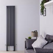 Radiatore di Design Verticale Doppio con Piedini di Supporto - Antracite - 1800mm x 354mm x 78mm - 1228 Watt - Revive Plus