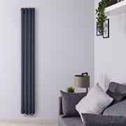 Radiatore di Design Verticale Doppio con Attacco Centrale - Antracite - 1600mm x 236mm x 78mm - 858 Watt - Revive Caldae