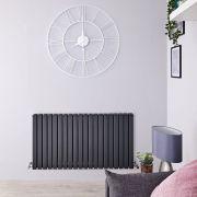 Radiatore di Design Orizzontale Doppio - Antracite - 635mm x 1200mm x 72mm - 1867 Watt - Sloane