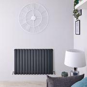 Radiatore di Design Orizzontale Doppio - Antracite - 635mm x 980mm x 58mm - 1338 Watt - Delta