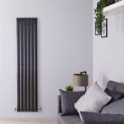 Radiatore di Design Verticale - Nero Lucido - 1600mm x 354mm x 56mm - 841 Watt - Revive