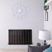 Radiatore di Design Orizzontale - Nero Lucido - 635mm x 980mm x 46mm - 876 Watt - Delta