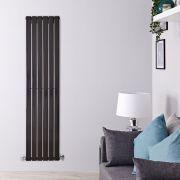 Radiatore di Design Verticale - Nero Lucido - 1600mm x 420mm x 47mm - 879 Watt - Delta