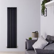 Radiatore di Design Verticale - Nero Lucido - 1600mm x 420mm x 60mm - 946 Watt - Rombo