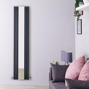 Radiatore di Design Verticale con Specchio - Acciaio -  Sloane Antracite - 1.696 Watt - 1800mm x 381mm