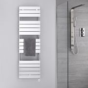 Radiatore Scaldasalviette Elettrico -  Piatto - Cromato - 1512mm x 450mm - Lustro