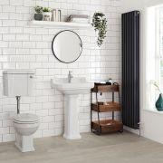 Sanitario con Vaso Tradizionale Cassetta Bassa in Ceramica Sedile e Copri WC