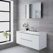 Mobile Bagno Colore Bianco Laccato 1200x480x520mm con Lavabo Integrato - Randwick