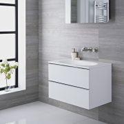 Mobile Bagno Colore Bianco Laccato 750x480x500mm con Lavabo Integrato - Randwick
