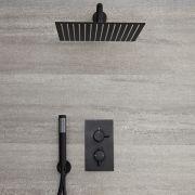 Miscelatore Doccia Termostatico ad Incasso Nero a 2 Vie con Deviatore Completo di Soffione Doccia Quadrato 300x300mm e Doccetta  - Nox