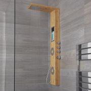 Pannello Doccia Termostatico a 3 Vie Effetto Bambù con Soffione Doccia, Mensola Integrata e Doccetta 1400x220x495mm-  Iako
