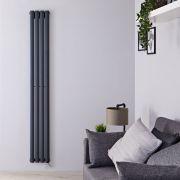 Radiatore di Design Elettrico Verticale - Antracite - 1780mm x 236mm x 56mm  - Elemento Termostatico 800W  - Revive