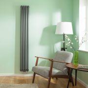 Radiatore di Design Verticale Doppio con Attacco Centrale - Antracite - 1780mm x 236mm x 78mm - 866 Watt - Revive Caldae