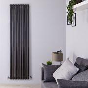 Radiatore di Design Verticale Doppio - Nero Lucido - 1780mm x 472mm - 1868 Watt - Revive