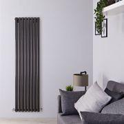Radiatore di Design Verticale - Nero Lucido - 1780mm x 472mm x 80mm - 1391 Watt - Savy