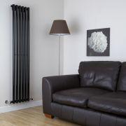 Radiatore di Design Verticale - Nero Lucido - 1780mm x 354mm x 80mm - 1043 Watt - Savy