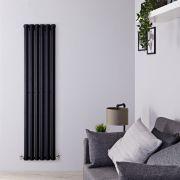 Radiatore di Design Verticale - Nero Lucido - 1780mm x 420mm x 60mm - 1050 Watt - Rombo