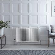 Radiatore di Design Orizzontale Doppio Tradizionale - Bianco - 600mm x 1013mm x 68mm - 1249 Watt - Regent