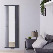Radiatore di Design Verticale con Attacco Centrale - Con Specchio - Colore Pietra - 1900mm x 640mm x 60mm - 1261 Watt - Lublin