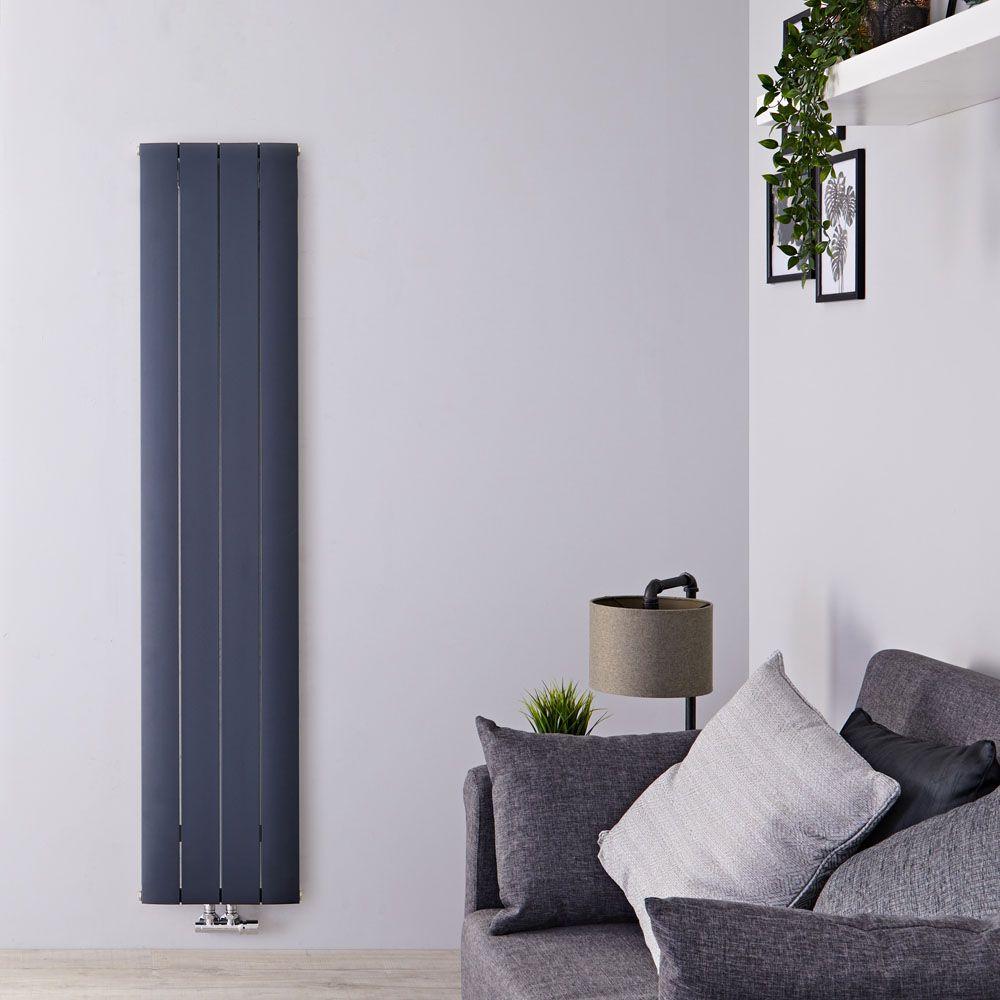 Radiatori In Alluminio O Acciaio radiatore di design verticale con attacco centrale - alluminio - antracite  - 1600mm x 375mm x 46mm - 1361 watt - aurora