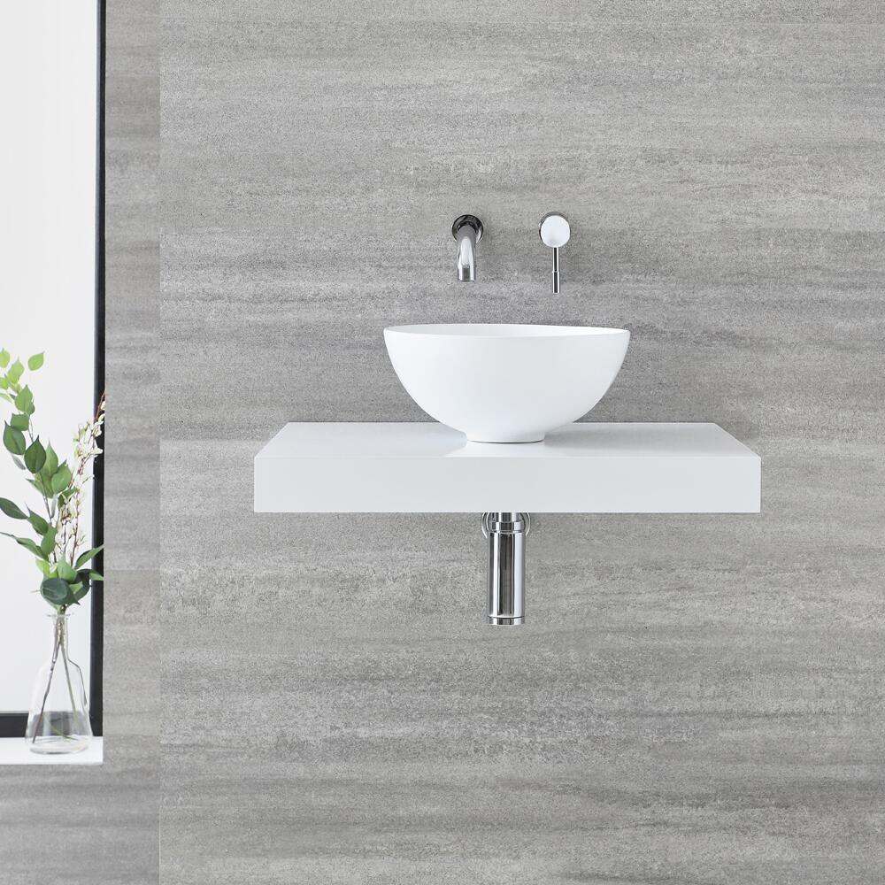Piano Per Lavabo Da Appoggio mensola murale bianca completa con lavabo da appoggio 600mm - ashbury