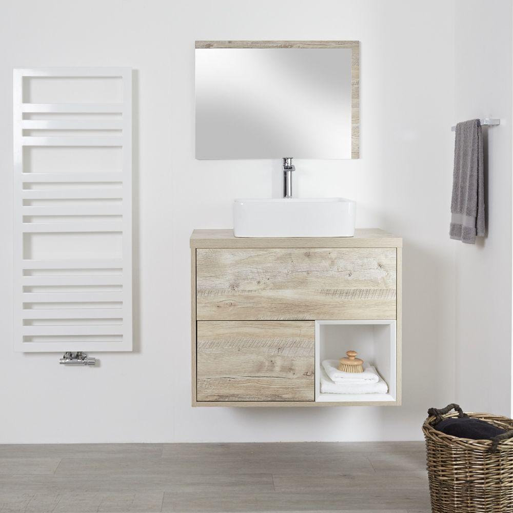 Mobile Bagno Per Asciugamani mobile bagno 800mm colore rovere chiaro con design aperto e lavabo da  appoggio rettangolare - hoxton
