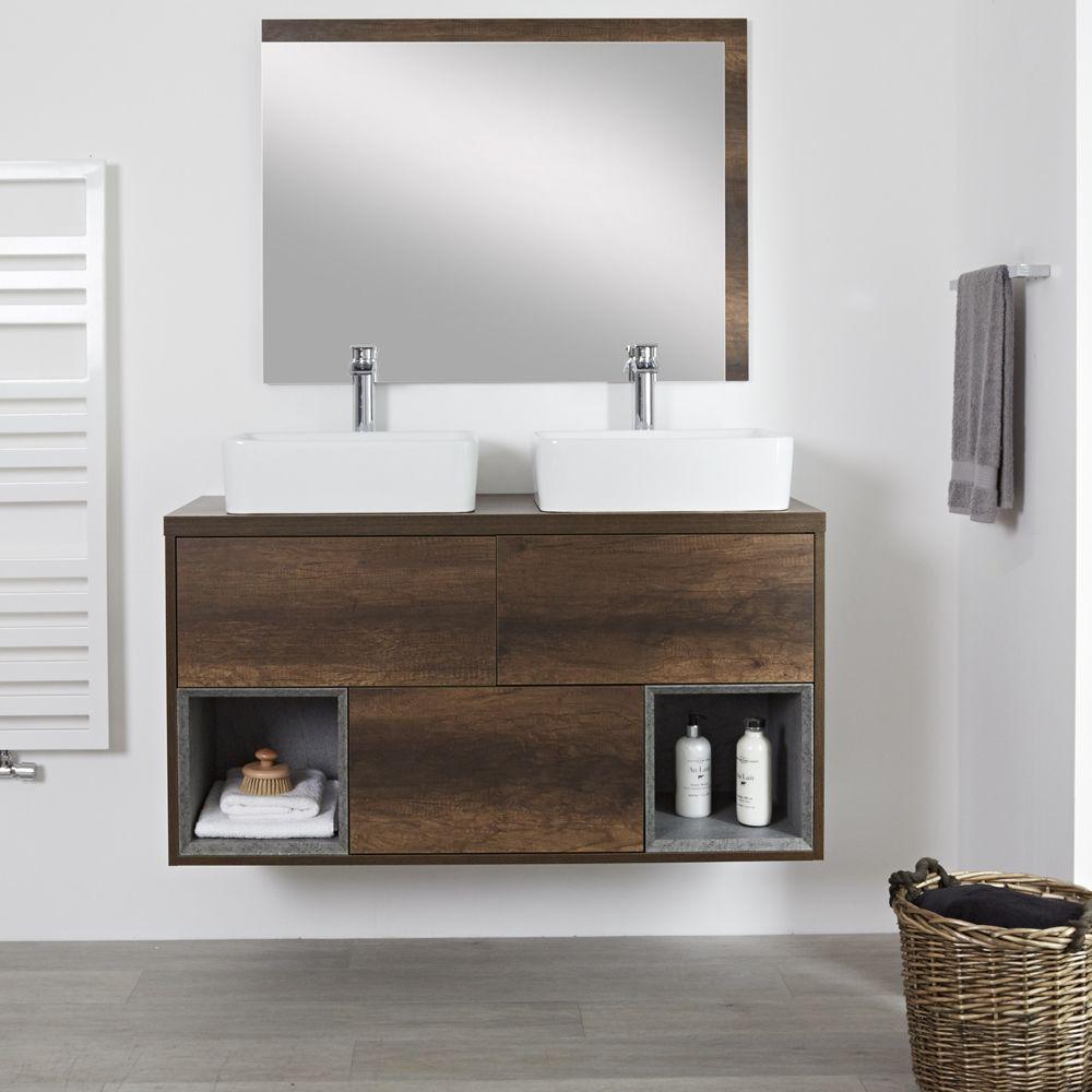 Mobile Bagno Per Asciugamani mobile bagno 1200mm colore rovere scuro con design aperto e lavabo da  appoggio rettangolare - hoxton