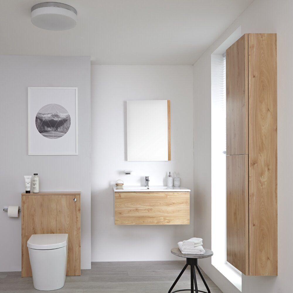 Mobile Bagno Per Asciugamani mobile bagno 800mm colore rovere dorato completo di cassetta , sanitario,  lavabo, colonna bagno murale e specchio disponibile con opzione led -