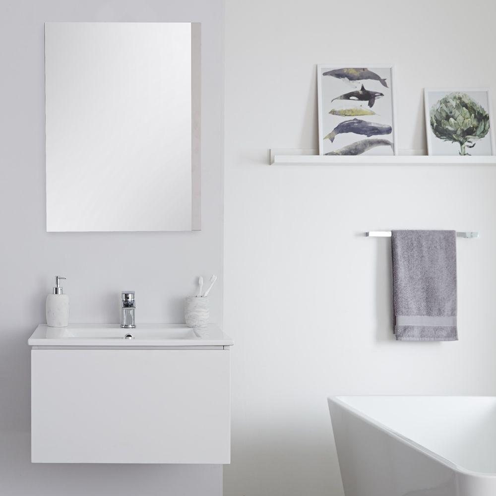 Mobile Bagno Per Asciugamani mobile bagno murale 600mm con lavabo integrato colore bianco opaco  disponibile con opzione led - newington