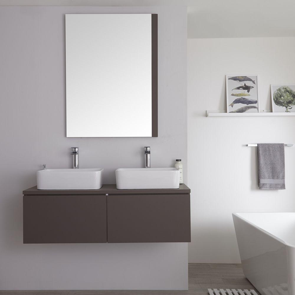 Mobile Bagno Per Asciugamani mobile bagno murale 1200mm colore grigio opaco con lavabo da appoggio  doppio disponibile con opzione led - newington