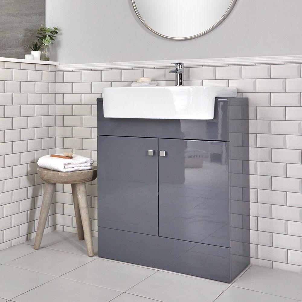 Armadietto Bagno Moderno mobile bagno moderno da terra colore grigio 667mm con lavabo - atticus